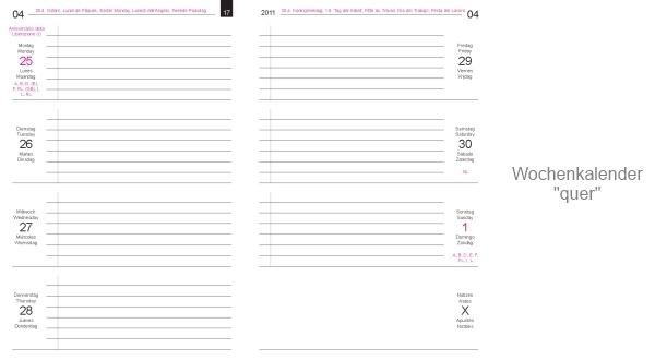X17 Einlagen Eine Fülle Von Kalendarien Lineaturen Registern Und
