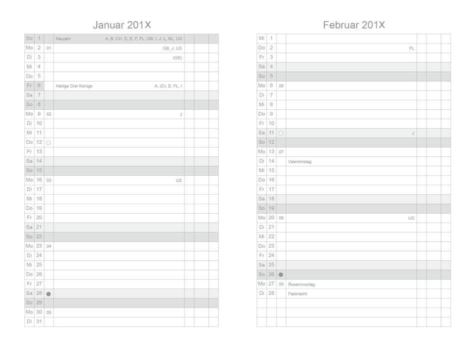X17-Monatskalender Monatsplaner für A7, A6 und A5 für drei ...